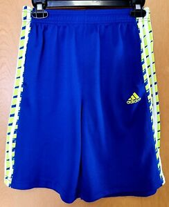 ADIDAS Basketball Shorts Youth L / 14-16 Blue w/ Yellow Neon Excellent Condition