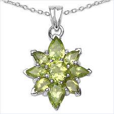 Collier/Halskette mit grünem Peridot-Stern-Anhänger-2,62 Karat-Silber Rhodiniert