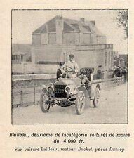 COURSE VOITURE BAILLEAU MOTEUR BUCHET PETITE IMAGE 1904