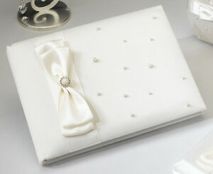 Ivory Pearl Satin Wedding Guest Book