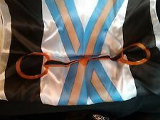 """Equine Couture SCARF Horse snaffle bit design blue white black gold 11 X 50"""" NEW"""