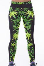 Jahnells Closet Green Leaf Print Stretch Yoga Pants