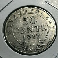 1917 NEWFOUNDLAND CANADA SILVER 50 CENTS NICE COIN