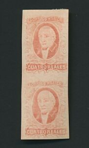 MEXICO STAMPS 1856 4r RED HIDALGO PAIR IMPERF MINT OG, Sc #4c, VF