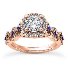 Halo Pave 1.56 Carat VS2/G Cushion Cut Diamond Engagement Ring Rose Gold
