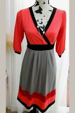 833527dae43 LAURA SCOTT TEA DRESS GREY BLACK RED ORANGE WRAP SKATER COLOUR SIZE 10