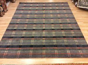 Grey Multi Coloured Striped Handwoven Wool Sitting Room Rug XXL 243x307cm 60%OFF