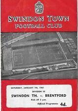 Football Programme>SWINDON TOWN v BRENTFORD Jan 1961