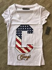 COOGI Women T-Shirt Flag Red White Blue C M Medium Patriotic 4th of July Tee NEW