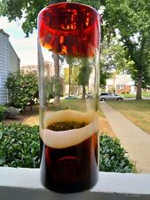 """Hard glass Floor Vase 12"""" tall 4.5"""" Wide Rose colored Red Brown Flowers Durable"""
