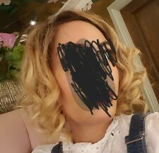 Blonde Dark Roots Full Lace Wig Bob Lob Customised Hairline Brand New