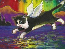 1.5x2 DOLLHOUSE MINIATURE PRINT OF PAINTING RYTA 1:12 SCALE RAINBOW ANGEL CAT