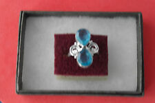 Blue Topaz Gems Size Q 12 Gr.4.6 Beautiful 925 Silver Rings With 2 Faceted