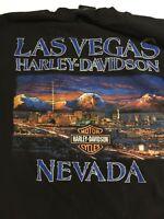 Harley Davidson Mens Large Black T-Shirt Las Vegas Nevada Eagle Skyline Cotton
