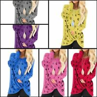 Floral T-Shirt Loose Pullover Womens Tops Jumper Casual O Neck Long Sleeve