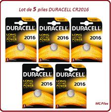 Lot de 5 piles boutons CR2016 lithium Duracell, livraison rapide et gratuite