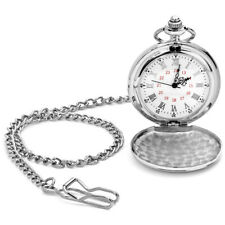 Silver Chrome Pocket Watch with Removable Chain in Gift Box