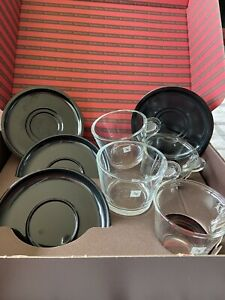 NESPRESSO SET OF 2 LUNGO CUPS & SAUCERS + 2 CAPUCCINO CUPS & SAUCERS
