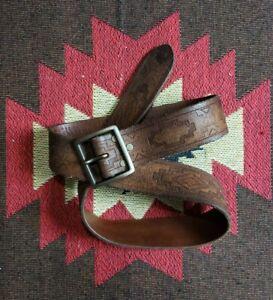 RRL Double RL Ralph Lauren Tooled Leather Western Belt