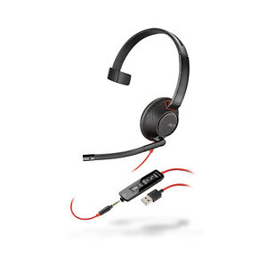Plantronics Poly Blackwire 5210 Mono Headset Standard USB and 3.5mm Jack NC Mic