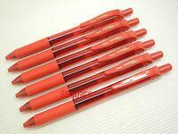 6 x Pentel EnerGel Ener Gel BL107 0.7mm Metal Tip Rollerball Gel Ink Pen, Red