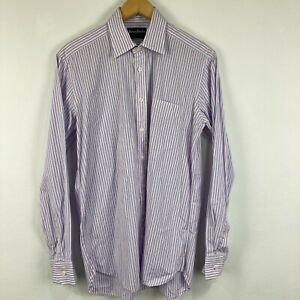 Henry Bucks Mens Button Up Shirt M Multicoloured Striped Long Sleeve Collared