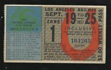1937 Los Angeles Railway Pass Memorial Coliseum College FB Schedule USC & UCLA