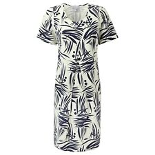Pure Collection Silk Linen Cocoon Dress - Navy Bamboo Print - Size 18 RRP £130