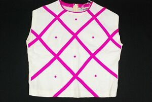 Vintage 50s Fire Islander Sleeveless Sweater Blouse Womens 13/14 Pink Geometric