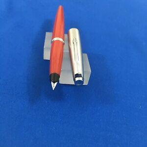 Parker 45 Steel Red Chrome trim  FP Steel Fine nib  Mint USA