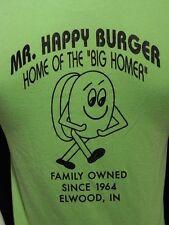 Vintage Mr. Happy Burger Neon Green 50/50 Blend T Shirt Elwood Indiana S