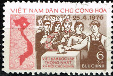 Vietnam Country Map Communist Election stamp 1976