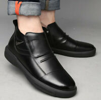 Fashion Men's Genuine Leather Oxfords High Top Shoes Winter Zipped Casual Boots