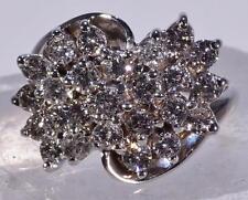 Vintage 1.5 CTW Diamond Cluster Ring 14 K White Gold Size 8