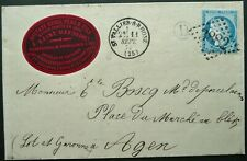 FRANCE 11 SEP 1874 POSTAL ENTIRE W/ 25c RATE FROM ST VALLIER TO AGEN - SEE!