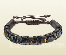 MENS GUCCI BRACELET DARK BROWN LEATHER HAND THREADED with BEADS