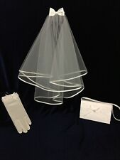 3pc White Veil,Bag and Glove Set Ideal Holy Communion, Bridesmaid/Flower Girl BN