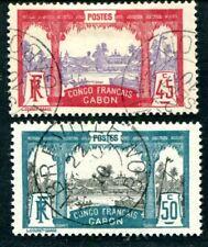 GABON 1910 Yvert 43-44 gestempelt gute Werte 135€(D7432