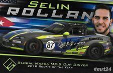 "SIGNED 2019 SELIN ROLLAN ""SICK SIDEWAYS"" #87 MAZDA MX-5 CUP SERIES POSTCARD"