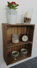 Wooden Shelves Apple Crate Vintage Style Display Unit Brown 1 Shelf
