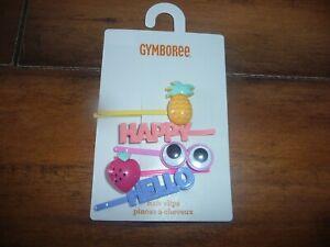 NEW NWT Gymboree girls 5 piece hair clip pin set pineapple happy