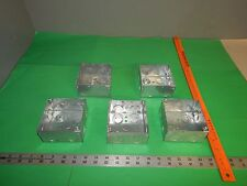 """Lot of 5 Crouse-Hinds 432 4"""" Square Outlet Electrical Box 2-1/8"""" Deep 12 KO's"""