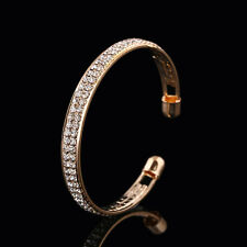 New Fashion Trendy Men Women Gold Sliver Crystal Metal Bangle Plated Bracelets