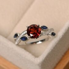 1ct Round Cut Ruby Flower Petal Solitaire Engagement Ring 14k Solid White Gold