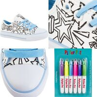 Kids DIY Wearable Custom Fashion Colouring Arts Crafts Kit Canvas Sneakers Shoes