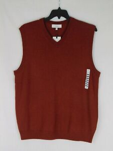 NWT Turnbury Big Tall Man 100% Merino Wool V-Neck Rust Red Vest Sweater L $59.50