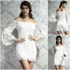 Ladies Sexy Fashion Cream Lace Off Shoulder Mini Dress Size 10 M Towie Chelsea