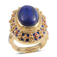 Lapis Lazuli Fashion Statement Ring Gift Jewelry for Women Size 6 Goldtone