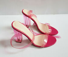Sexy Transparent Pink perspex Shoes Club Party Pumps Shoes, size 7 UK (03) (gg)
