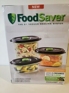 NEW FoodSaver Preserve & Marinate Vacuum Containers. Set of 3 Hard To Find.